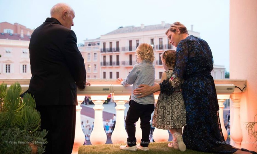 Princess Charlene guided her little ones on the ins and outs of the day, even at one point leading Jacques and his little sister in a royal wave. 