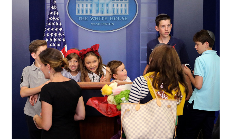 President Donald Trump's grandchildren stole the show at the White House on Friday afternoon. Arabella, five, and Joseph Kushner, three, along with their paternal cousins took over the James Brady Press Briefing Room following Press Secretary Sean Spicer's June 23 new conference.