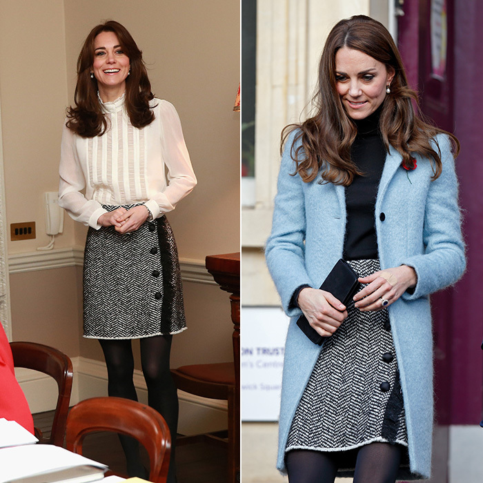 This tweed Dolce & Gabbana skirt has been Kate's go-to piece on a couple of daytime occasions. She wore it with a white blouse in February 2016 as she guest edited the Huffington Post UK from Kensington Palace, left, and also at the Nelson Trust Women's Centre in Gloucester in November of that year.  
