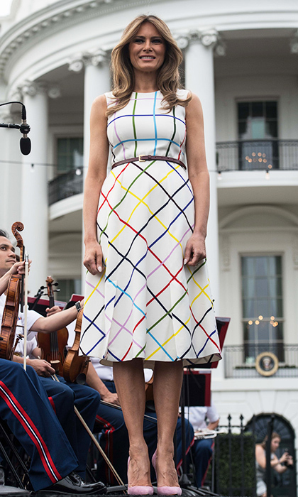 Melania went for a colorful rainbow windowpane print dress by Mary Katrantzou at the Congressional picnic at the White House on June 22.