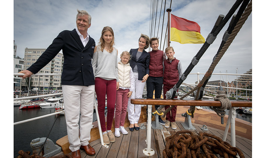 The Belgian royals also stepped on board the sailing ship Mercator in Oostende for a family portrait. 