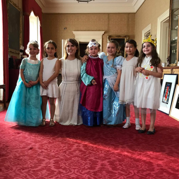 Princess Eugenie had a very special visitor to the Palace. David Beckham shared this adorable photo of his daughter Harper along with her friends as they enjoyed tea with Queen Elizabeth's granddaughter in July 2017. The six-year-old wore a Cinderella costume while other friends played dress up as well.