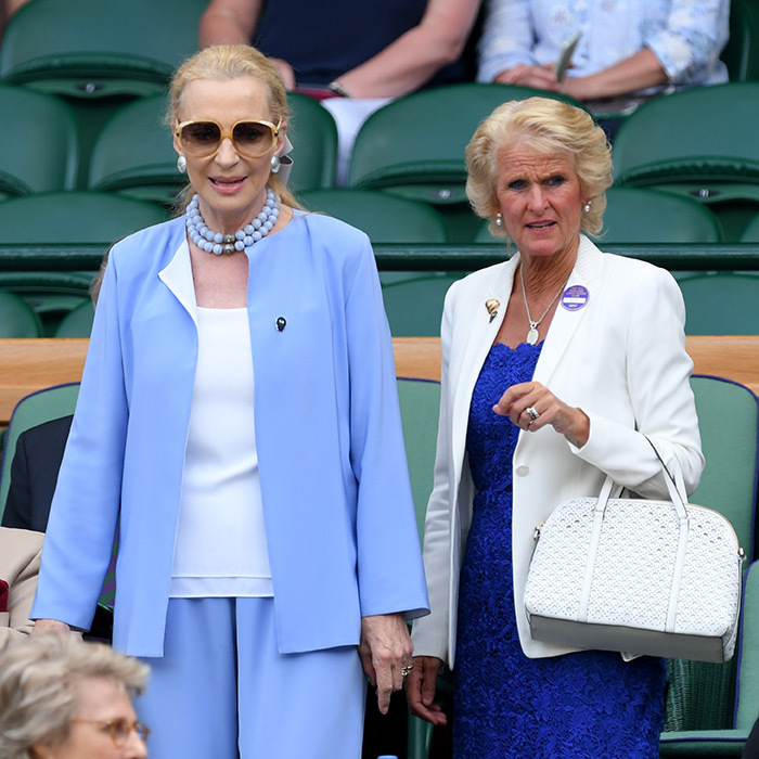 Princess Michael of Kent, left, and a friend attended  in matching blue and white hues.