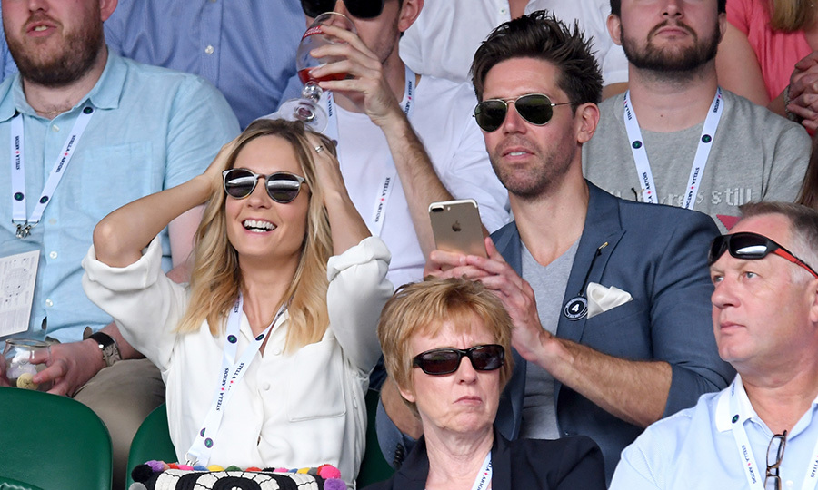 <I>Downton Abbey</I>'s Joanne Froggatt and husband James Cannon cheered on their faves on July 4. 