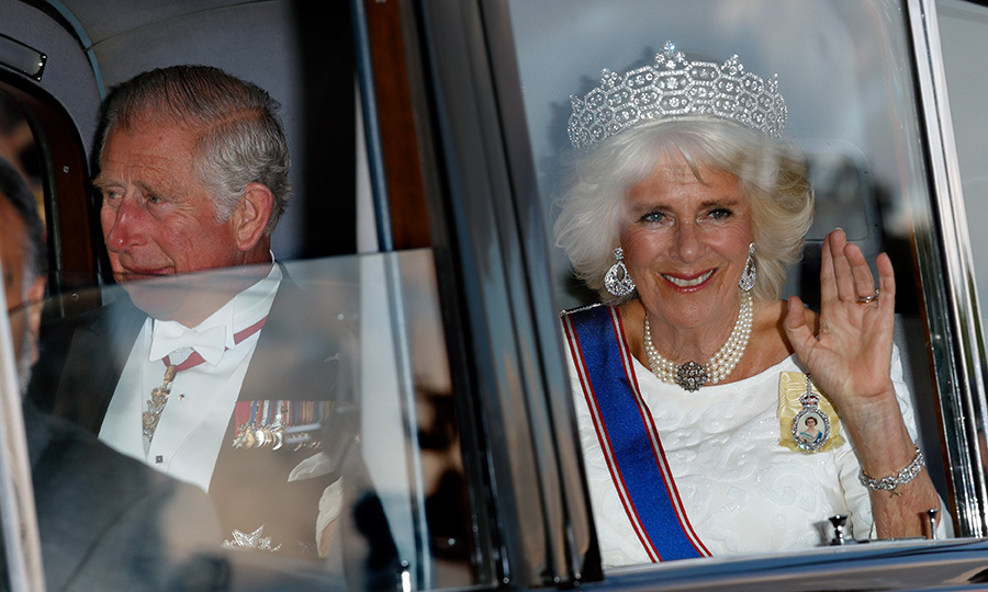 Prince Charles and wife Duchess Camilla – who wore the Greville tiara, which belonged to Queen Elizabeth's mother – were seen as they arrived.
