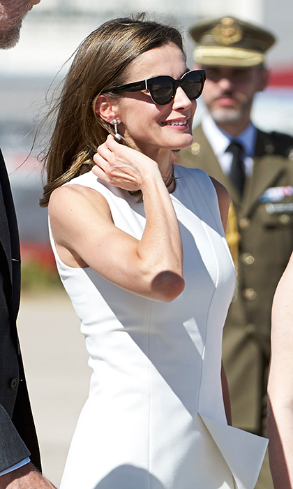 In line with her glamorous style, Letizia wore movie star shades to complete her look.