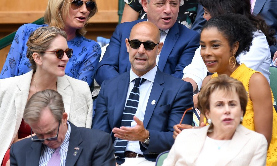 Actor Stanley Tucci, center, wife Felicity Blunt, left, and actress Sophie Okonedo were spotted on day 11. 