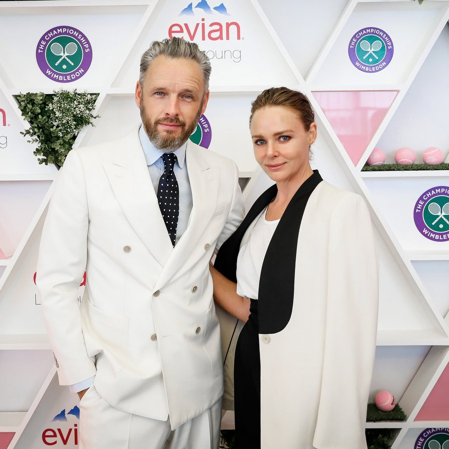 Designer Stella McCartney and husband Alistair Willis checked out the Evian Live Young suite.