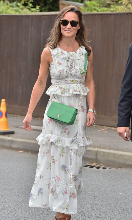 Pippa Middleton also attended the final to see family friend Roger Federer. For the last day of the tournament, Kate's younger sister wore a Max Mara dress with a green crossbody.