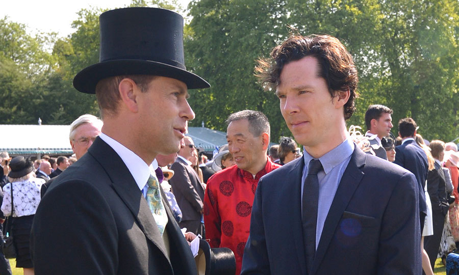 Camilla shares a birthday with Donald Sutherland, <I>Fast and Furious</I> star Vin Diesel and actor Benedict Cumberbatch, seen here chatting with Camilla's brother-in-law Prince Edward at a Buckingham Palace garden party in 2013.