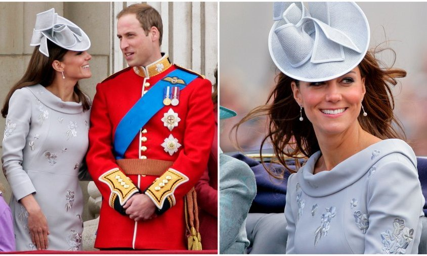 For Trooping the Colour in 2012, the Duchess wore an Erdem floral embroidered dress in pale lavender and a gorgeous Jane Corbett hat.