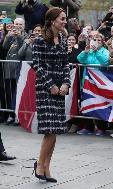 In October 2016, Duchess Kate stepped out in Manchester, England, wearing a cozy tweed Erdem coat.