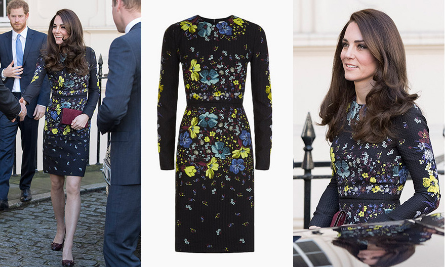 In April 2017, Kate looked radiant in the Erdem 'Evita' dress to attend a briefing for the Heads Together campaign she launched with William and Harry. The silk dress, featuring a floral print, retailed for £1,050 (about $1292) on the brand's website.