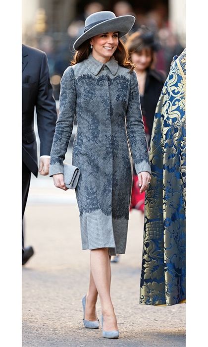 In March 2016, the Duchess of Cambridge arrived at the annual Commonwealth service at Westminster Abbey wearing a grey coat by the label.