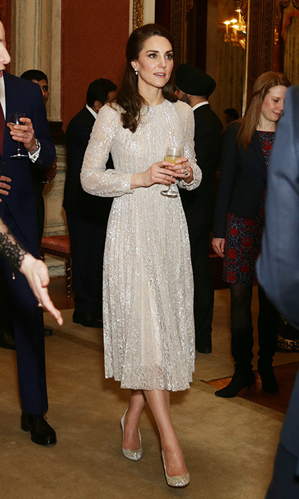 In February 2017, Kate chose this shimmering Erdem look for a reception marking the launch of the UK-India Year of Culture.