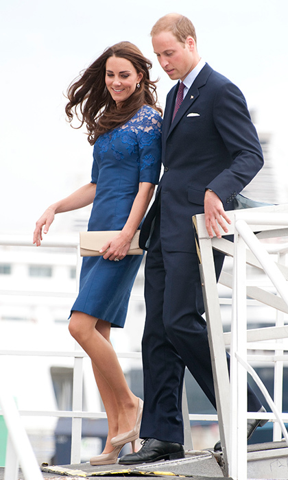 The royal wore another blue dress by the designer for a July 3, 2011 outing in Quebec's Champlain Harbour.