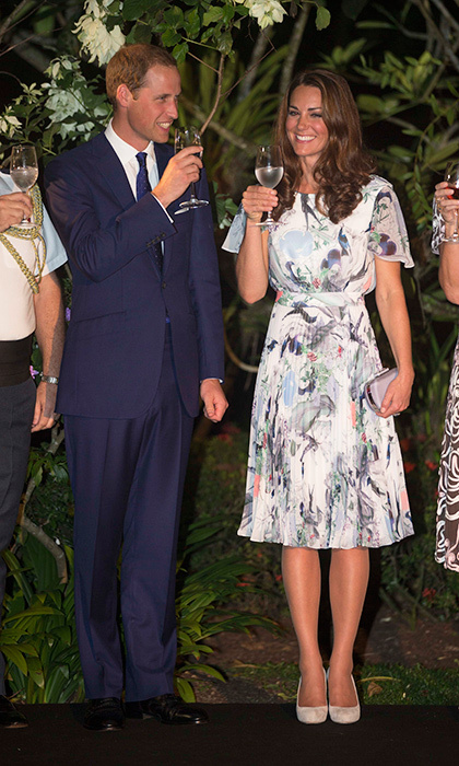 Floaty pleats and florals for a toast with Prince William in Singapore during the couple's Diamond Jubilee Tour of South East Asia in September 2012.