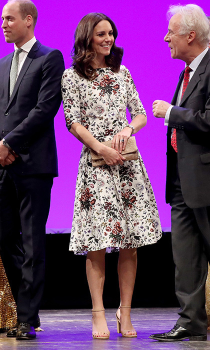 The Duchess of Cambridge opted for Erdem on July 18, 2017, day two of the royal tour of Poland in Germany. Kate donned a flattering midi skirt and matching half-sleeved top in one of the brand's pretty signature florals.