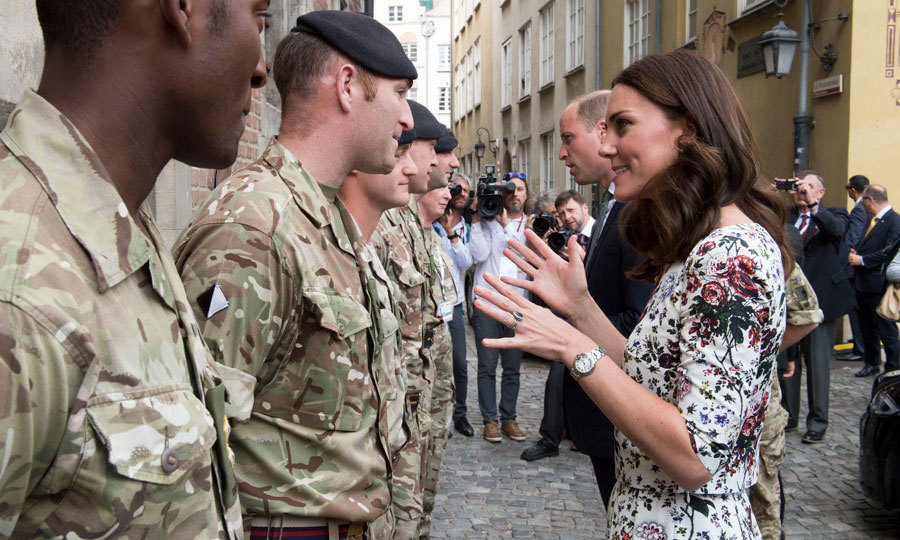 Kate and William chatted with some British Soldiers from the Light Dragoons before bidding farewell to the large crowd that gathered in Gdansk on July 18.