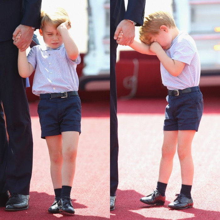 Prince George appeared sleepy as he arrived to Berlin with his family on July 19.
