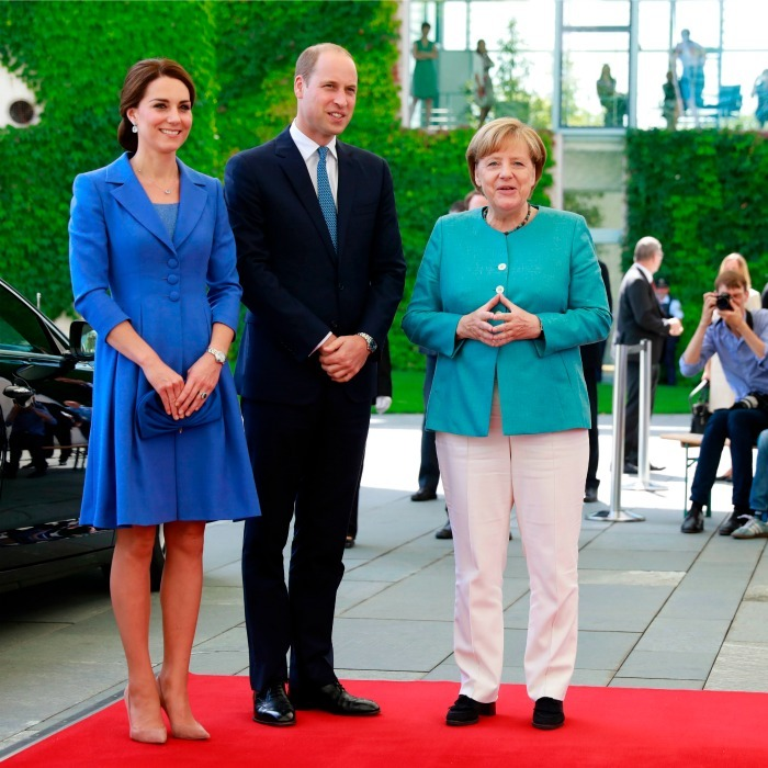 Kate and William were formally welcomed to Germany by Chancellor Angela Merkel.