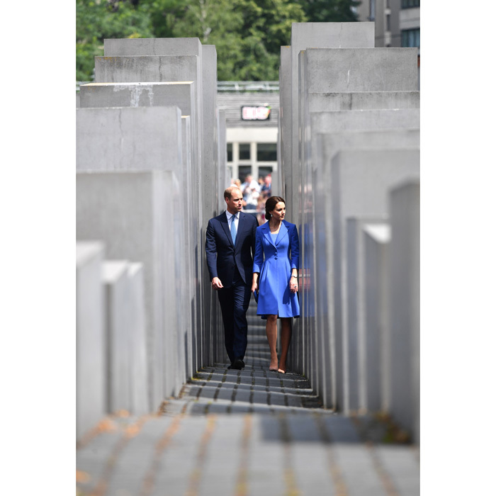 William and Kate walked through the Field of Stelae at the Holocaust Memorial. The memorial contains 2711 concrete blocks and represents the enormity of the Holocaust.