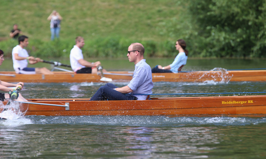 Royal rivalry! The duo participated in a rowing race on the River Neckar. Kate's team had an advantage over William's since she had an Olympic gold medalist — Filip Adamski — in her boat.