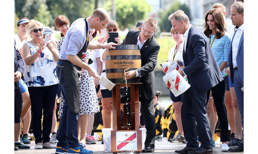 "The winning team celebrated with barrel of beer. When it came time to opening the barrel, Kate told her husband, ""I will let you do that. It's a man's job."" She added, ""It's going to go everywhere! I'm glad you're doing this, not me.""