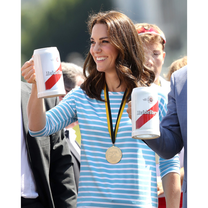 "Kate, who admitted prior to the race that she was ""worried about crashing,"" celebrated with a beer once the competition was over. ""We didn't crash!"" she said after the race.