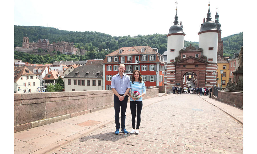 The royals posed for a picturesque photo on the Old Bridge in the historic center of Heidelberg.