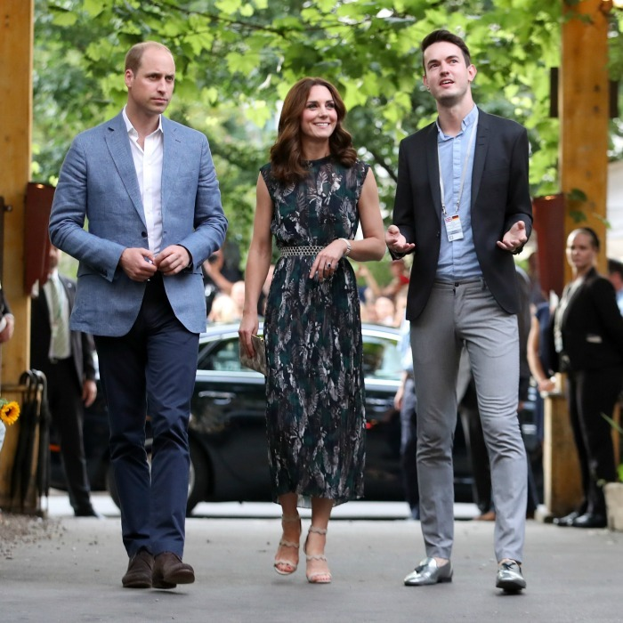 The Duke and Duchess returned to Berlin to attend a reception at the Clärchens Ballhaus, which is one of the last remaining ballrooms in the city. The mom-of-two looked lovely for the occasion wearing a teal bird print jacquard dress by German designer Markus Lupfer.