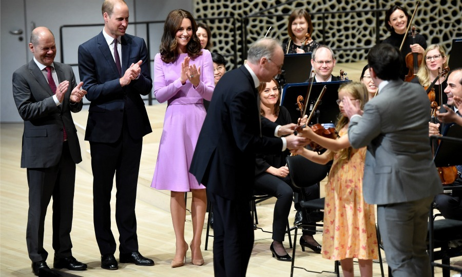 William and Kate were joined by Hamburg's Mayor Olaf Scholz and a tiny violinist inside Elbphilharmonie Hamburg, which is one of the largest concert halls in the world.