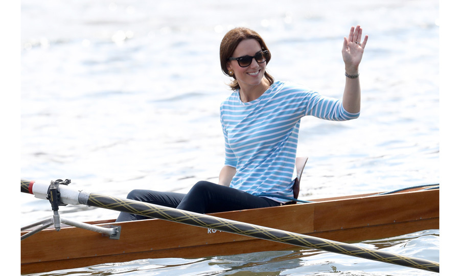 "Kate's competitive side came out when she faced-off in a boat race against her husband Prince William during the royal tour of Poland and Germany in July 2017. She joked to her crew prior to the race, ""No pressure, but I do want to beat my husband!"" Despite losing, she was all smiles as she enjoyed her time on the water. 