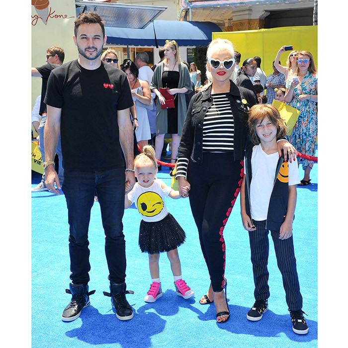 Christina Aguilera made <I>The Emoji Movie</I> a family date with partner Matthew Rutler and kids Max Bratman, nine, and Summer Rutler, nearly three, at Westwood, California's Regency Village Theatre on July 23.