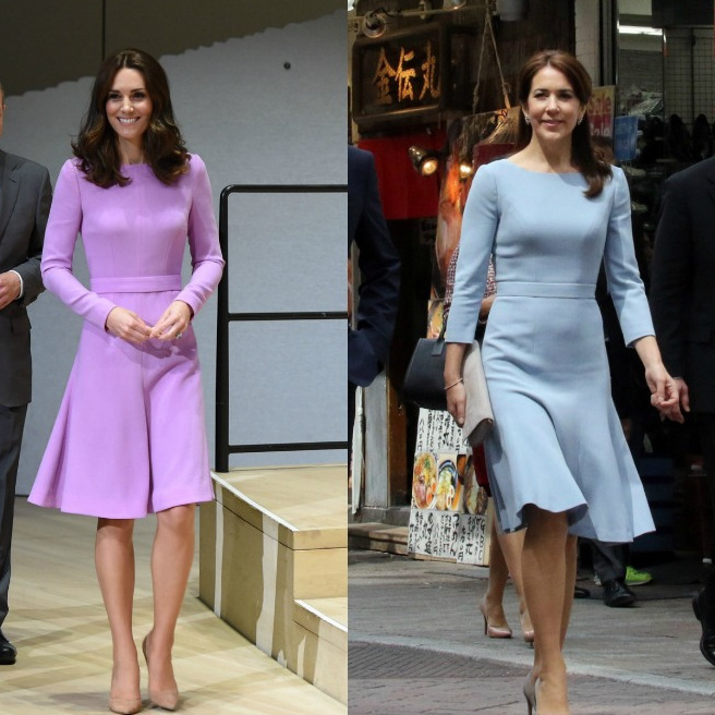 British designer Emilia Wickstead has more than one royal fan! Kate and Crown Princess Mary of Denmark both chose this style by the label for engagements: the Duchess of Cambridge, left, in lavender during a visit to Germany in July 2017, and the Danish royal in a power blue version during a 2015 trip to Tokyo.