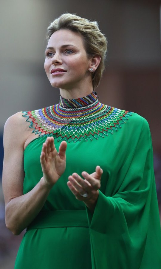 Prince Charlene of Monaco looked regal as she paid tribute to her African roots with a gorgeous green gown and colorful neckpiece during the IAAF Diamond League Meeting Herculis on July 21 in Monaco.
