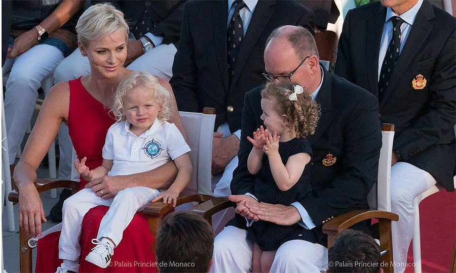 While Princess Charlene looked on with a smile, holding Prince Jacques on her lap, little Princess Gabriella gave a round of applause.