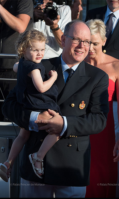 Proud dad Prince Albert held on to his little girl throughout the event, held at Port Hercules, under the initiative of the Yacht Club of Monaco.