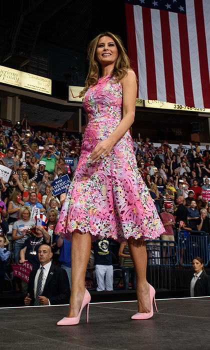 Pink stilettos were the footwear of choice to accessorize Melania's colorful Monique Lhuillier day dress at her husband's July 25 rally in Youngstown, Ohio. 