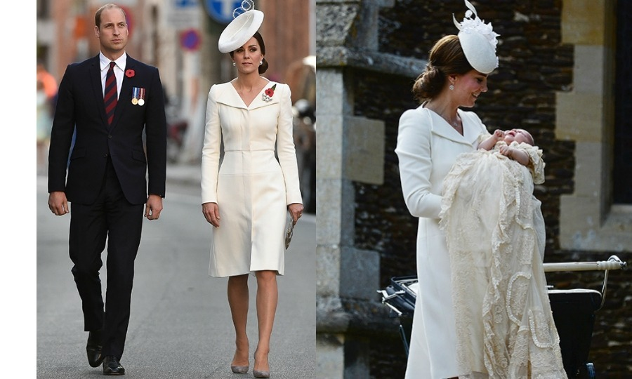 While attending a special ceremony with Prince William to mark the centenary of the Battle of Passchendaele in Belgium, the Duchess of Cambridge opted for a familiar ensemble (seen left). The 35-year-old wore all white for the occasion, choosing an elegant coat dress with a matching hat, which she teamed with a pair of grey suede heels and matching purse. She first wore the Alexander McQueen ensemble back in July 2015 for the christening of her daughter Princess Charlotte (seen right).