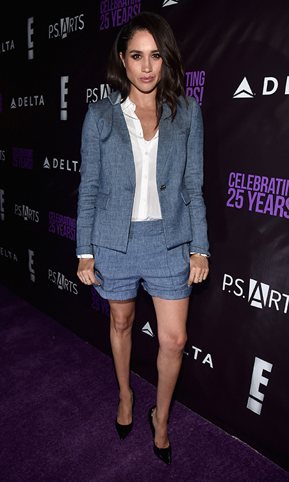 The shorts suit is another one of Meghan's go-to looks – here's a linen version teamed with black pumps.