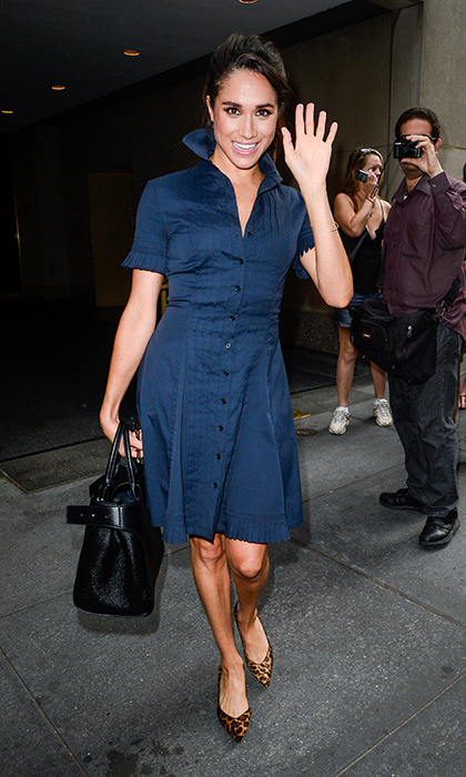 The star donned a navy shirtdress for an appearance on the <I>Today Show</I>, adding a signature twist with leopard print heels. 