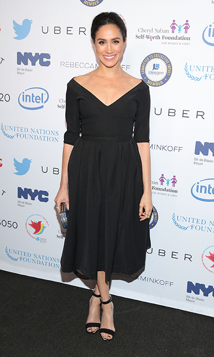 Rocking her favorite ladylike silhouette again, this time in black.