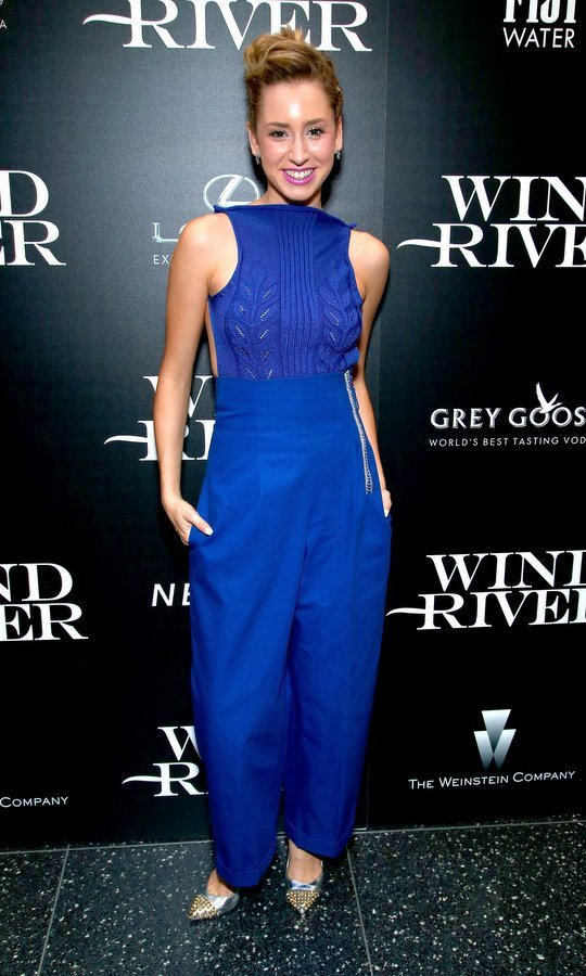 Prince Albert of Monaco's daughter Jazmin Grace Grimaldi stepped out in royal blue for a screening of <I>Wind River</I> at NYC's Museum of Modern Art on August 2. 
