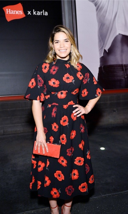 Lady in red! America Ferrera looked pretty at the Hanes x karla launch party at Maxfield in Los Angeles on August 3.