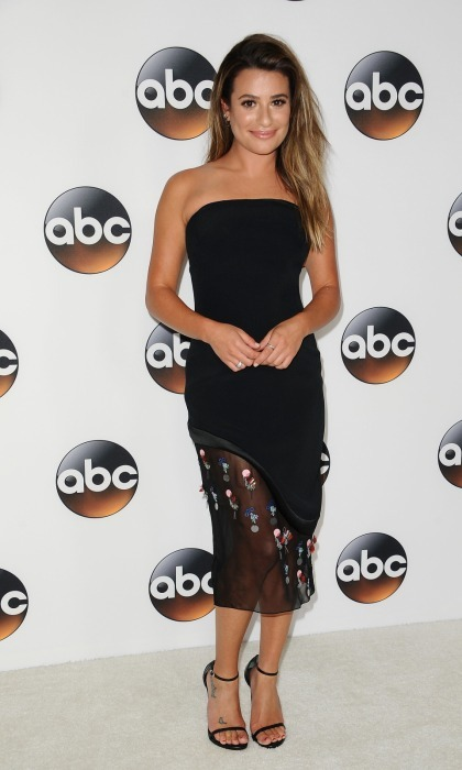 Lea Michele was simply GLEEful at the Disney ABC Television Group TCA summer press tour at The Beverly Hilton Hotel on August 6. The talent looked chic in black strapless dress as she happily promoted her new show <i>The Mayer</i>