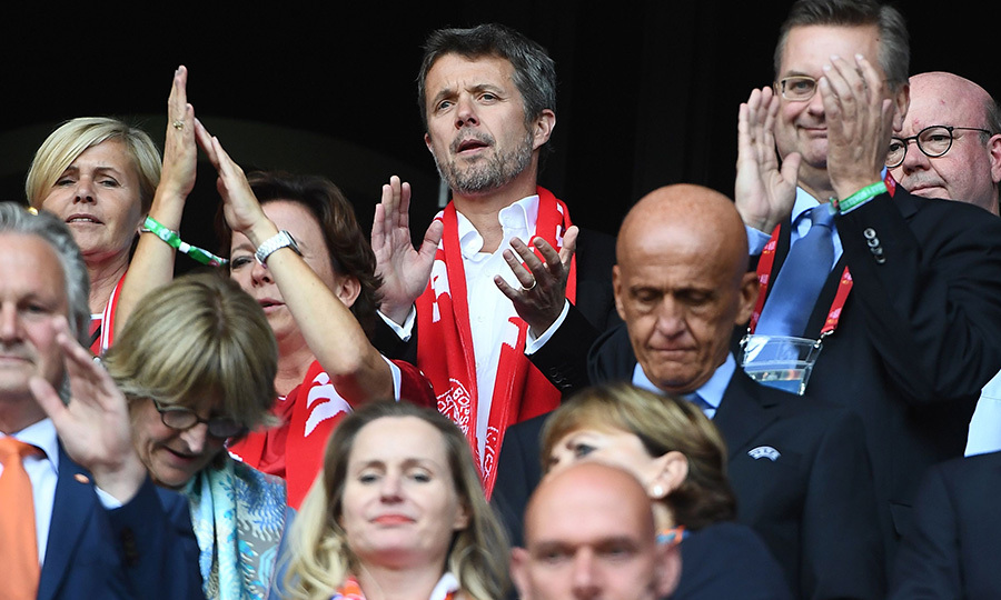 Denmark's Crown Prince Frederik was spotted in the crowd at the UEFA Womens Euro 2017 soccer finals between the Netherlands and Denmark in the Dutch city of Enschede on August 6.