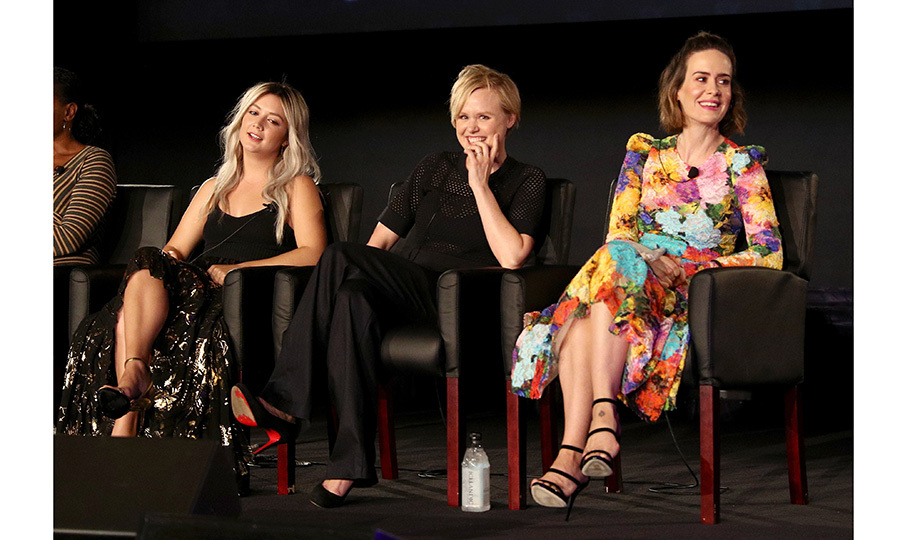 Fans of <I>American Horror Story: Cult</I> got a hint of the upcoming season with this lively onstage trio – Billie Lourd, Alison Pill, and Sarah Paulson – during the FX portion of the 2017 Summer Television Critics Association Press Tour at Fox Studios on August 9 in L.A. 