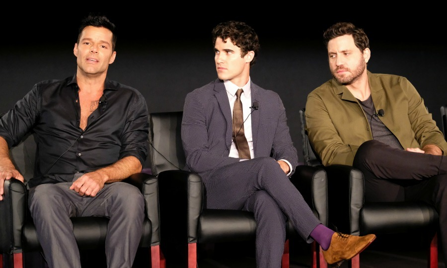 Ricky Martin, Darren Criss and Edgar Ramirez took the stage to talk about their upcoming series <i>The Assassination of Gianni Versace: American Crime Story</i> during the 2017 Summer Television Critics Association Press Tour at Fox Studios in L.A. on August 9.