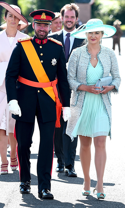 Sandhurst graduate Hereditary Grand Duke Guillaume of Luxembourg looked dashing in his uniform as he arrived with wife, Hereditary Grand Duchess Stephanie.